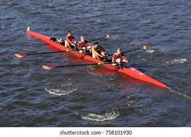 BOSTON, MA - OCTOBER 23, 2016: St. John Fisher College Rowing races in the Head of Charles Regatta Men's Collegiate Fours [PUBLIC RACE]