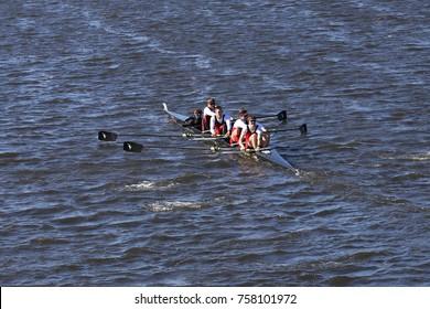 BOSTON, MA - OCTOBER 23, 2016: Carleton races in the Head of Charles Regatta Men's Collegiate Fours [PUBLIC RACE]