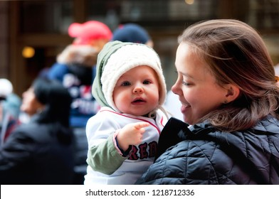 Boston, Ma.  October 31, 2018. Boston Red Sox's youngest fan celebrating on Tremont Street for the Red Sox Championship parade in Boston Massachusetts.