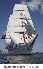 Boston, Ma - Portugal's Tall Ship Sagres leaves Boston Harbor during Sail Boston 2009 July 13, 2009