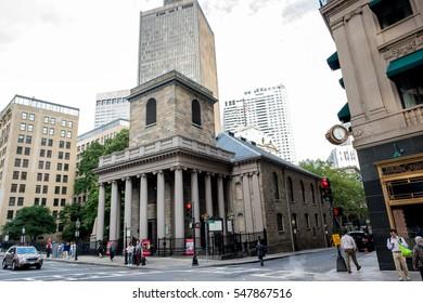 Boston, MA: September 2, 2016: Downtown Boston. Boston is the capital of Massachusetts.