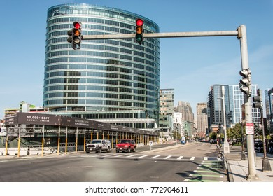 Boston MA USA 04.09.2017 skyline summer day panoramic view buildings downtown and road with traffic at waterfront side