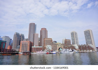 Boston, MA / USA - 07 22 2017 :  Boston water front apartment and building