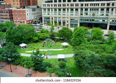 Boston, MA / USA - 07 22 2017 :  Boston downtown park