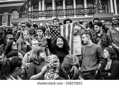Boston, Ma, USA - 09 11 2016, Young student protesting against president elected Donald J. Trump in front of Massachusetts State House
