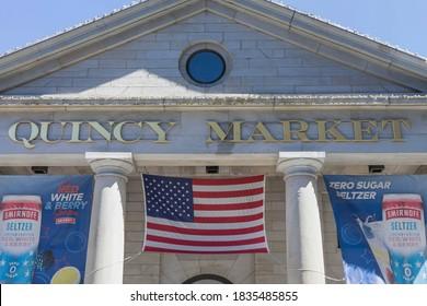 Boston, MA, USA, 2020-09-05: Close up of Quincy Market exterior