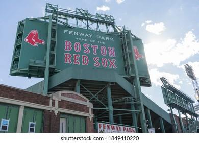 Boston, MA, USA, 2020-09-05: Boston Red Sox sign at Fenway Park
