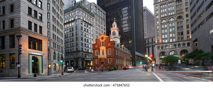 Boston, MA, USA - August 20, 2016: Old State House and the skyscrapers of the Financial District at night  in Boston, Massachusetts, USA