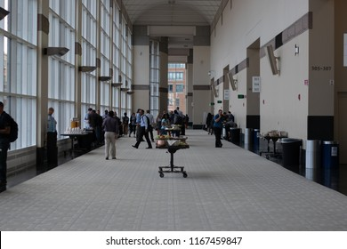 Boston, MA, USA - August 27, 2018 - Amazon Web Services (AWS) Transformation Day 2018 At Hynes Convention Center Hallway With People.