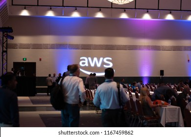 Boston, MA, USA - August 27, 2018 - Amazon Web Services (AWS) Transformation Day 2018 At Hynes Convention Center Wall Projection.