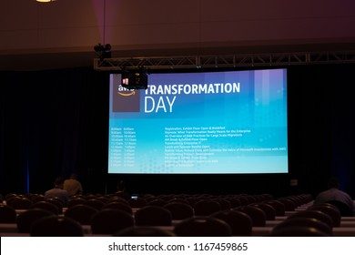 Boston, MA, USA - August 27, 2018 - Amazon Web Services (AWS) Transformation Day 2018 At Hynes Convention Center Presentation Screen.