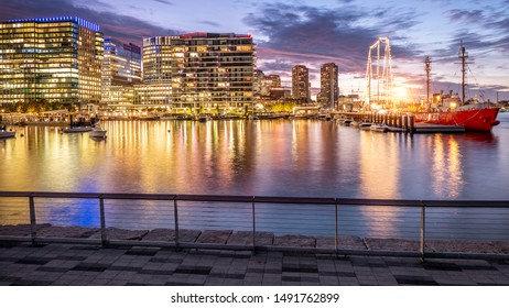 BOSTON, MA, USA - AUGUST 27, 2019: The skyline of Boston in Massachusetts, USA at sunset with its architectural mix of contemporary and historic buildings.