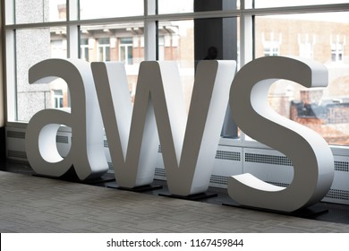 Boston, MA, USA - August 28, 2018 - Amazon Web Services (AWS) Transformation Day 2018 At Hynes Convention Center AWS Sign.