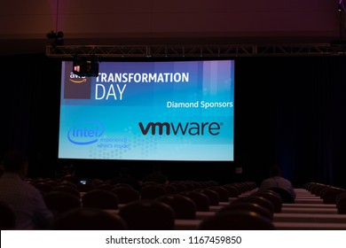 Boston, MA, USA - August 28, 2018 - Amazon Web Services (AWS) Transformation Day 2018 At Hynes Convention Center Projection Screen.