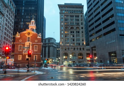 Boston, MA, USA - December 17, 2016: Old State House and the skyscrapers of the Financial District at night in Boston, Massachusetts, USA