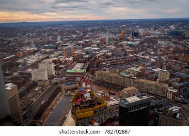 BOSTON, MA, USA - DECEMBER 24, 2017: Boston City buildings from Prudential Center Skywalk Observatory view in Boston, MA, USA on December 24, 2017