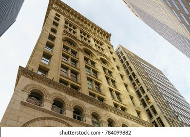 BOSTON, MA, USA - DECEMBER 25, 2017: Urban view of buildings in downtown Boston, architecture texture background. Boston, MA, USA on December 25, 2017
