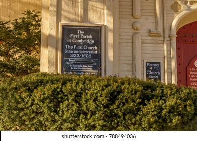 BOSTON, MA, USA - DECEMBER 31, 2017: The first church in Cambridge, Boston, MA, USA on December 31, 2017