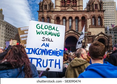 BOSTON, MA USA - FEBRUARY 19, 2017:  Protesters hold up signs at the Stand Up for Science Rally in Copley Square Boston.