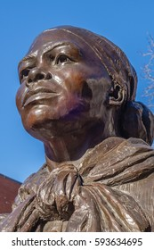 BOSTON, MA, USA - FEBRUARY, 19, 2017: Close-up of Harriet Tubman Statue in Boston's South End neighborhood. Tubman, an African-American abolitionist will appear on the new $20 bill.