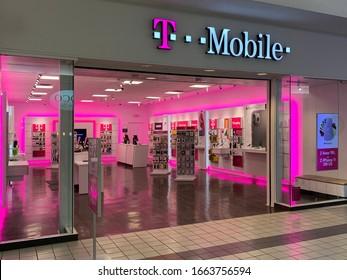 Boston, MA / USA - Jan 2020: T-Mobile retail store front