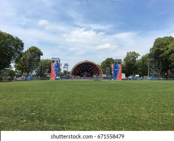 BOSTON, MA, USA - JULY 1, 2017: Stock photo of the 4th of July celebration setup at the DCR Hatch Memorial Shell