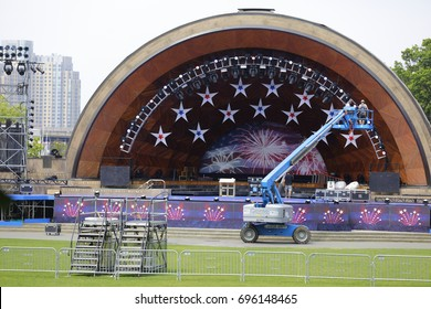 BOSTON, MA, USA - JULY 1, 2017: Image of the DCR Hatch Memorial Shell setup for the 4th of July celebration