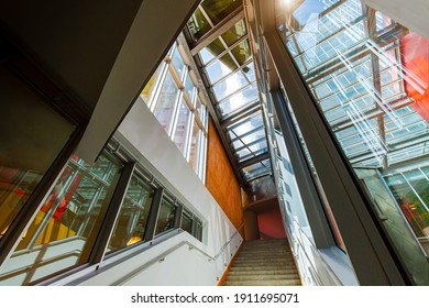 Boston, MA, USA July, 16, 2020: World-famous MIT institute of technology and modern buildings of Stata Center