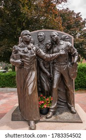 BOSTON, MA, USA - JULY 8, 2020: Close-up of Harriet Tubman Statue in Boston's South End neighborhood. Tubman, an African-American abolitionist will appear on the new $20 bill.