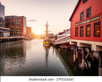 BOSTON, MA, USA - JUNE 10, 2020: Panoramic view of Boston in Massachusetts, USA at night showcasing its architecture at Boston Harbor and Financial District.