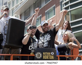 BOSTON, MA, USA - JUNE 18: Nathan Horton celebrates the Stanley cup victory at the Boston Bruins parade after winning the cup for the first time in 39 years, June 18, 2011 in Boston, MA, United States