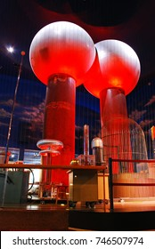 Boston, MA, USA June 24, 2011 A Large Van der Graaf Generator thrills visitors at the Boston Science Museum demonstrating the power of electricity