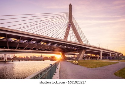 BOSTON, MA, USA - MARCH 15, 2020: The architecture of Boston in Massachusetts, USA at night with the Zakim Bridge by the Back Bay.