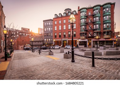 BOSTON, MA, USA - MARCH 25, 2020: The architecture of Boston in Massachusetts, USA at the North End showcasing the Little Italy District.
