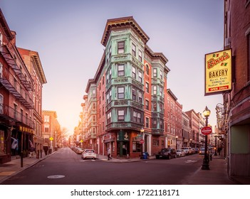 BOSTON, MA, USA - MAY 1, 2020: The historic architecture of Boston in Massachusetts, USA showcasing the Italian neighborhood in the North End of the city.