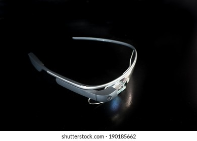 BOSTON, MA, USA - MAY 1, 2014: A photo of Google Glass. Google Glass is a wearable computer with an optical head-mounted display that is being developed by Google