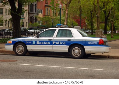 Boston, MA, USA May 14, 2007 A Boston Police Car is parked In the upscale Back Bay neighborhood.