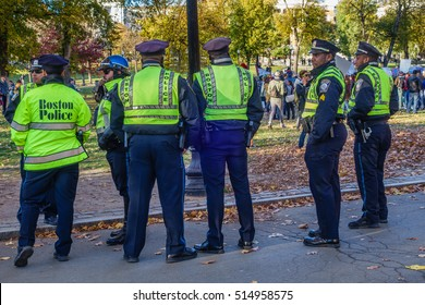 Boston, MA, USA â?? November 11. Police officers watch peaceful anti-Trump Love Rally Boston Common following the US presidential election of Donald Trump on November 11, 2016