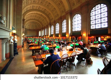 BOSTON, MA, USA: October 2017 Public Library students