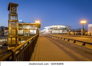 BOSTON, MA, USA - OCTOBER 26: The architecture of the T subway station in Boston, Massachusetts, USA at South Boston by the Convention Center at sunrise on October 26, 2016.