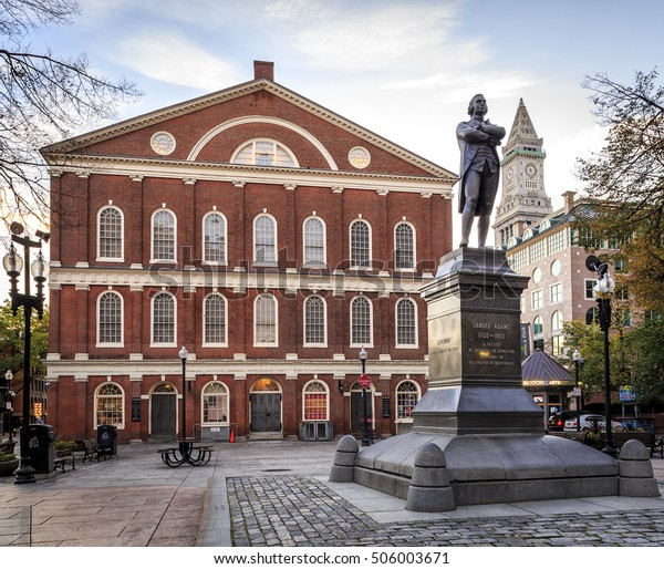 BOSTON, MA, USA - OCTOBER 28: The Georgian-style Faneuil Hall at the Quincy Market in Boston, Massachusetts, USA at sunrise on October 28, 2015.