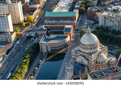 Boston, MA, USA - October 6, 2016: Top view of The First Church of Christ Scientist in Christian Science Plaza in Boston, USA