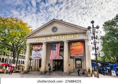 Boston, MA, USA - October 6, 2012: Quincy Market on a Fall Cloudy Morning. Quincy Market is a retail and restaurant complex at Faneuil Hall Marketplace.