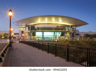 BOSTON, MA, USA - OCTOBER 6: The modern architecture of the Convention Center in Boston, Massachusetts, USA at sunrise on October 6, 2016.