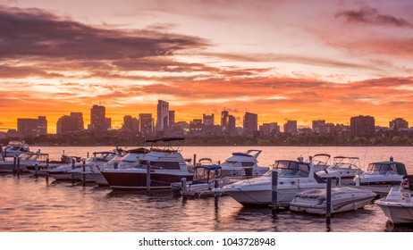 Boston, MA, USA – OCTOBER 8, 2017 - Boston skyline as seen from the Cambridge Parkway - Boston, MA