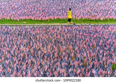 Boston, MA, USA-May 26, 2018. Boy walks among hundreds of US flags planted in Boston Common to commemorate fallen soldiers on Memorial Day.
