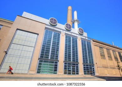 BOSTON, MA, USA-OCTOBER 23, 2018: William R Dickson cogeneration plant, part of MIT environmental clean energy initiative.
