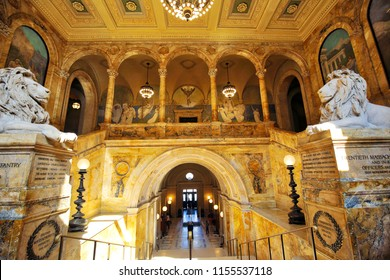Boston, MA, USA-October 7, 2017: Boston public library interiors