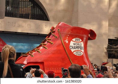 BOSTON, MASS.- 2 Nov: A truck-mounted World Series Champions shoe in the Boston Red Sox Rolling Rally held in Boston on 2 November 2013.