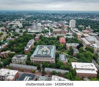 Boston, Massachusetts - 15 September 2018: The famous Harvard Yard in the middle of the prestigious University